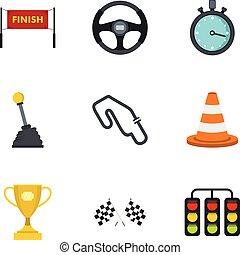 Motor race icons set, flat style