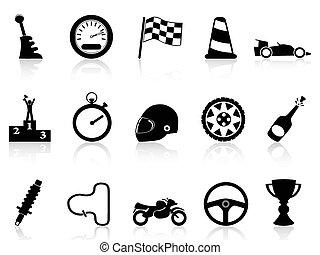 motor race icons set