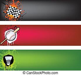 motor racing, baseball and badminton banner set - sports web...