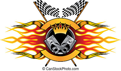 Motor racing championship icon for the champion with a winners crown and flames over a crossed pair of black and white checkered flags, colourful vector illustration