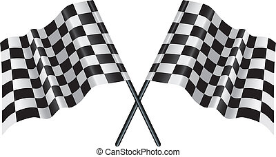 motor racing checkered, chequered flag - crossed falgs...