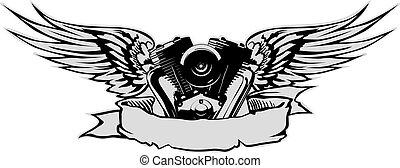 motor, s, křídla, v, šedivý, základ