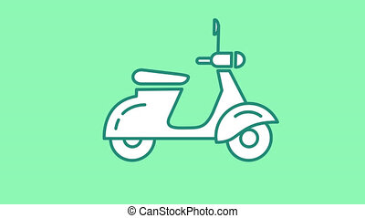 Motor Scooter line icon is one of the Transportation icon set. File contains alpha channel. From 2 to 6 seconds - loop.