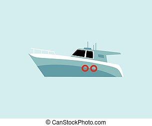 Motor sea travel boat cartoon icon, flat vector illustration isolated on blue.