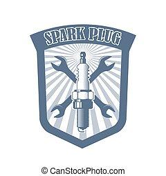 motor, servicio, vector, logotipo