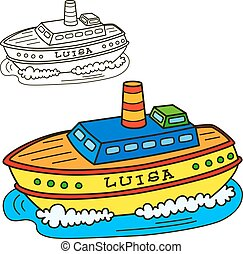 Motor ship. Coloring book page