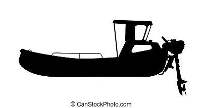 Motor ship - Small motor ship, boat silhouette over white ...