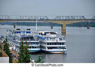 Motor ships in Volga river, Yaroslavl, Russia