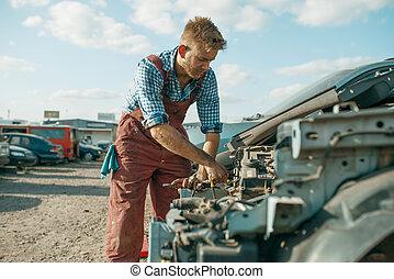 motor, skrotupplag, manlig, skruva av, mekaniker, bil