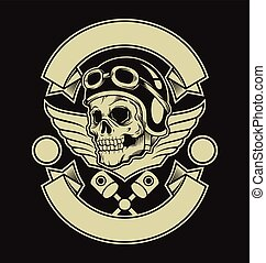 Motor skull emblem. Vector flat illustration