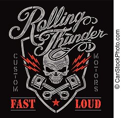 Motor skull pistons crest graphic - Motorsport-inspired...