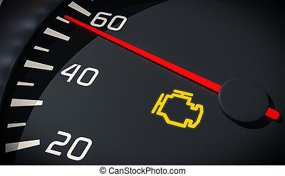 motor, slecht functioneren, licht, dashboard., re, controle,...