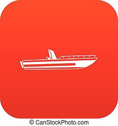 Motor speed boat icon digital red for any design isolated on...
