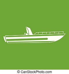 Motor speed boat icon green - Motor speed boat icon white...