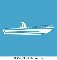 Motor speed boat icon white isolated on blue background...