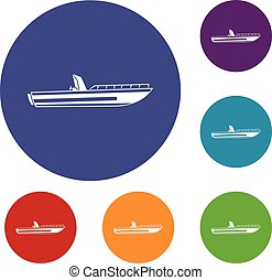 Motor speed boat icons set in flat circle reb, blue and...
