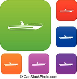 Motor speed boat set collection - Motor speed boat set icon...