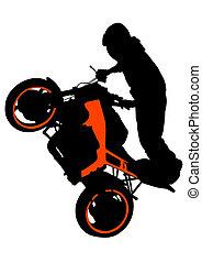 Motor sport biker - Motorcyclist performed extreme stunts on...