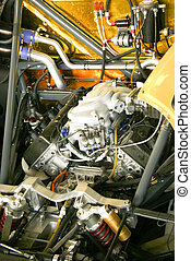 Details of the motor of a sports car