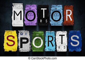 Motor sports word on vintage car license plates, concept sign