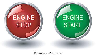 motor, stoppen, en, start, web, knopen,