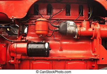 motor, stor, röd traktor