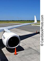 motor, straalvliegtuig, transportation:, detail, lucht, vleugel