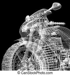 motor, straat, cyclus, vechter