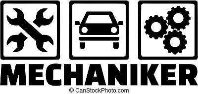 motor, título, alemão, ícones, trabalho, mecânico