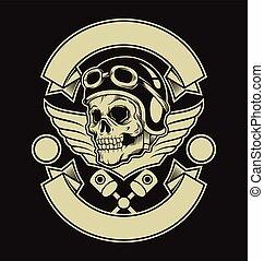 motor, totenschädel, emblem
