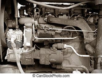 motor, traktor