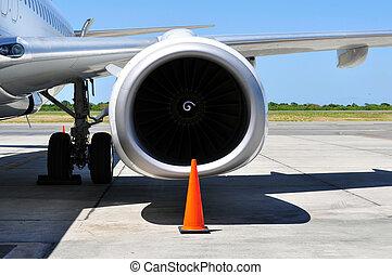 motor, transportation:, detail, straalvliegtuig, lucht
