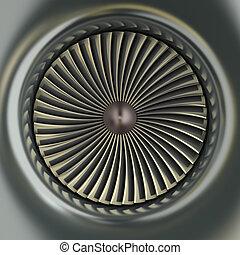 motor, turbina, gas, chorro