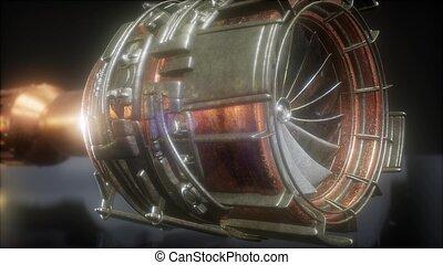 motor, turbina, partes, chorro