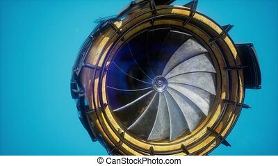 motor, turbine, onderdelen, straalvliegtuig