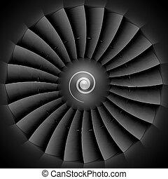 motor, turbine, straalvliegtuig, bladen
