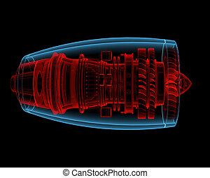 motor, turbo, b, jato, (3d, xray, vermelho