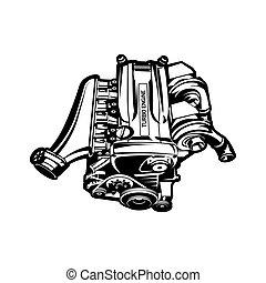 motor, turbo, speedster, car, ilustração, músculo