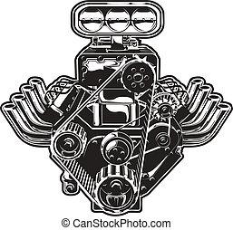 motor, turbo, vector, caricatura