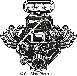 motor, turbo, vektor, karikatur