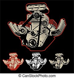 motor, turbo, vetorial, caricatura