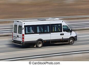 motor van goes on the highway - motor van goes on the...