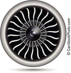 motor, vector, realista, avión, turbo-jet, ilustración, 3d