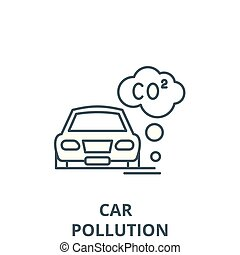 Motor vehicle pollution vector line icon, linear concept, outline sign, symbol