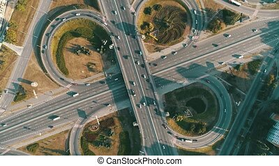 Motor vehicle roundabout from above