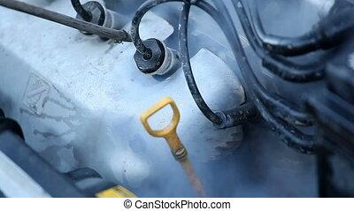 motor vehicle washing - cleaning car engine jet of hot high...