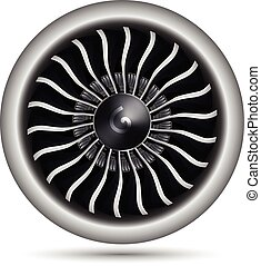 motor, vektor, realistisk, airplane, turbo-jet, illustration, 3