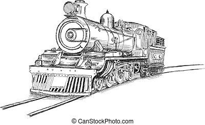 motor, vetorial, fluxo, ilustração, trem, retro, estrada ferro, locomotiva