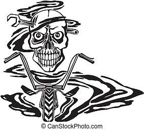 motor., vettore, illustration., cranio