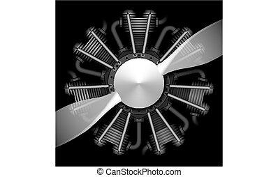 motor, vliegtuig, radiaal